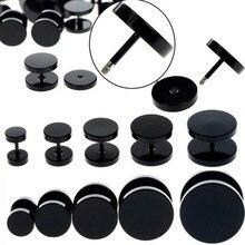 Brinco de auricular falso de aço inoxidável, brinco de 18g preto com gancho 6-14mm para mulheres, 1 peça piercing do corpo dos homens, jóias