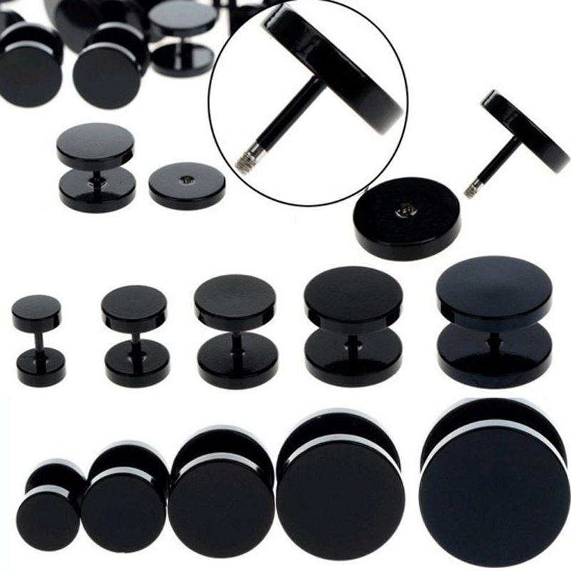 1 Piece 6-14mm Stainless Steel 18G Black Fake Ear Plug Stud Stretcher Tunnel Earring For Women Men Body Piercing Jewelry image