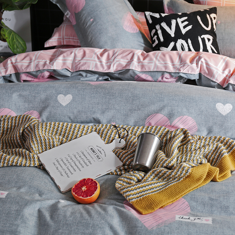 Image 4 - Solstice Cartoon Pink Love symbol Bedding Sets 3/4pcs Children's Boy Girl And Adult Bed Linings Duvet Cover Bed Sheet Pillowcase-in Bedding Sets from Home & Garden