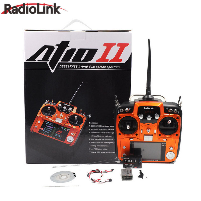 RadioLink AT10II 2.4Ghz 12CH Transmitter with R12DS Receiver PRM-01 Module DIY FPV Drone RC Quadcopter Airplane Remote Control radiolink r12ds 12ch 12 channel receiver 2 4ghz for at10 at10ii transmitter aircraft aerial photography device f04939