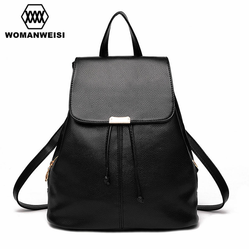 Women Backpack Girl School PU Leather Shoulder Bag Female Backpacks For Teenage Girls Schoolbag Satchel Mochila