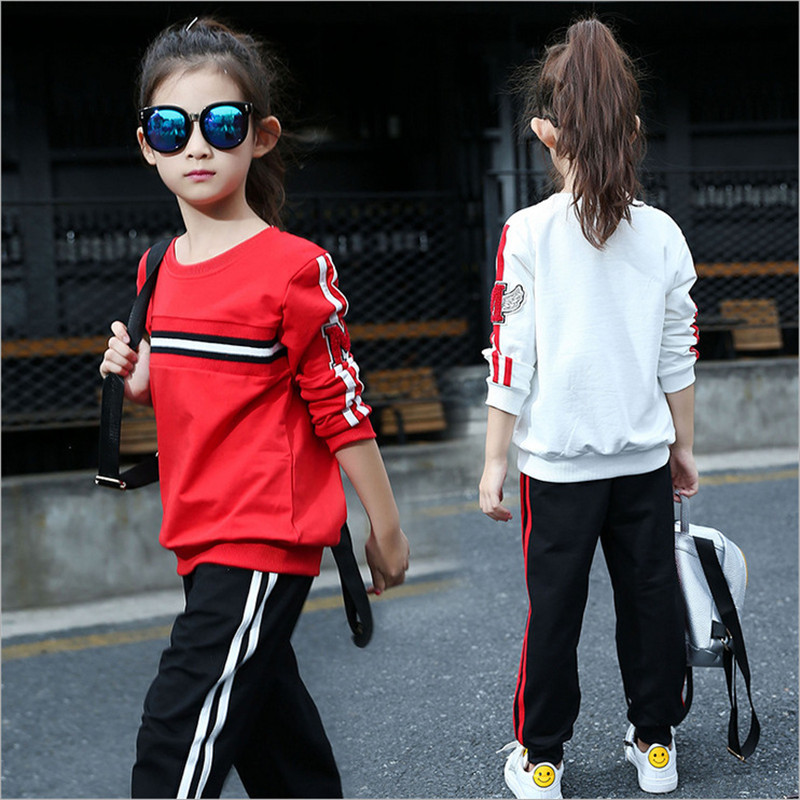 2017 Spring Autumn Girl Hoodies + Pants Two-piece Set Casual Baby Tracksuit Kids Clothes Girls Suit Children Clothing 4-15Y spring autumn new fashion baby boys girls hoodies sport suit children clothing set toddler casual kids tracksuit set
