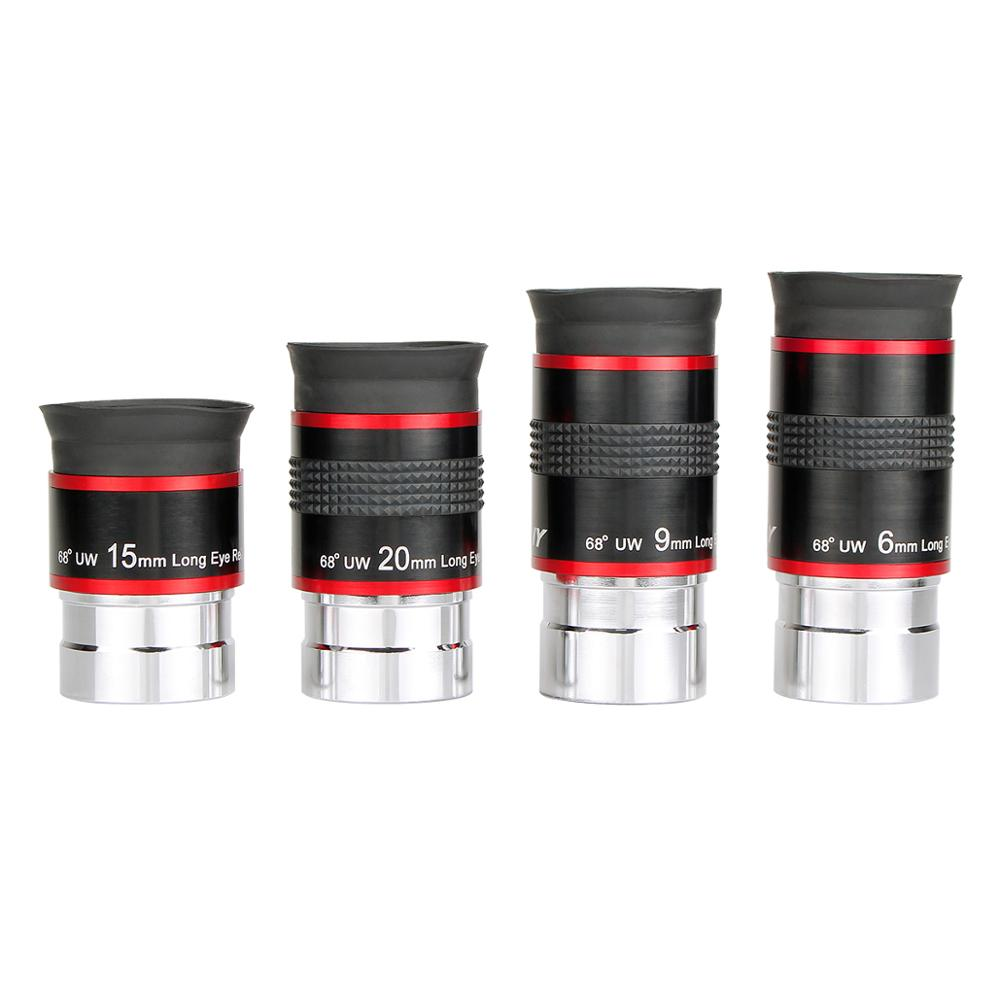 4 pcs/set Eyepiece Kit FMC 1.25 68 Degree Ultra Wide Angle 6/9/15/20mm for Astronomical Telescope Hot F9150A 66 degrees ultra wide 6mm eyepiece outer lens fully multi coated for astronomical telescope