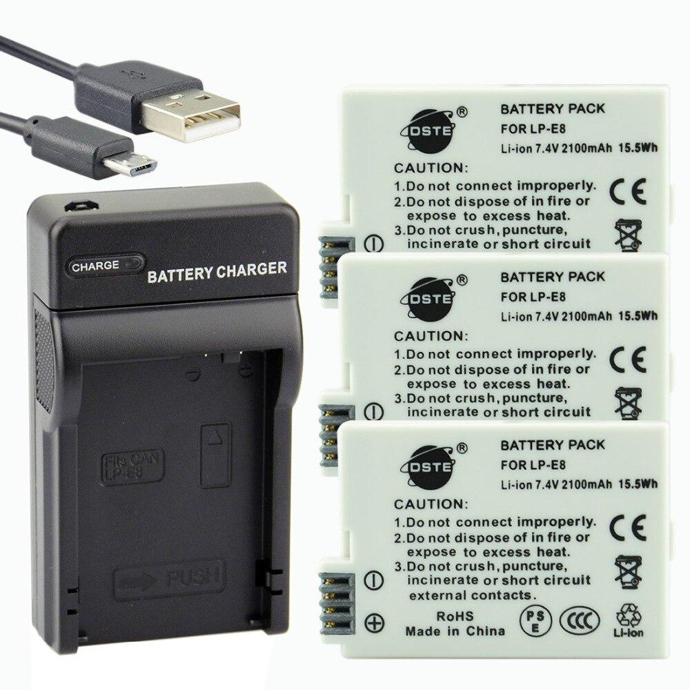 DSTE 3pcs LP E8 lp e8 Li ion Battery UDC99 USB Port Charger for Canon 550D