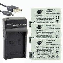 DSTE 3 pcs LP-E8 Bateria Li-ion lp-e8 + UDC99 Porta USB Carregador para Canon X4 X5 X6i X7i 700D 550D 600D 650D T2i T3i T4i T5i Câmera