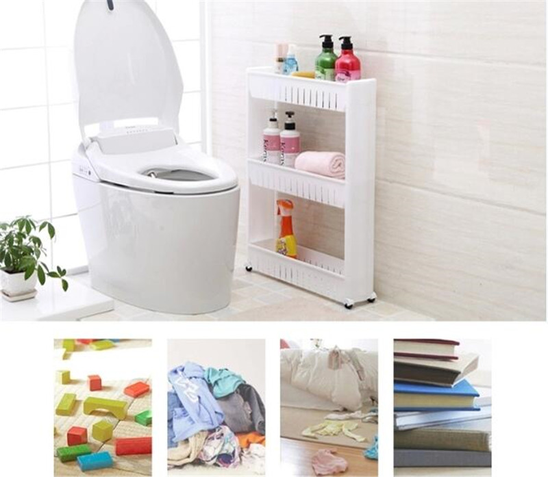 Removal 3 Layers Bathroom Storage Shelf Holder Narrow Space Saver ...