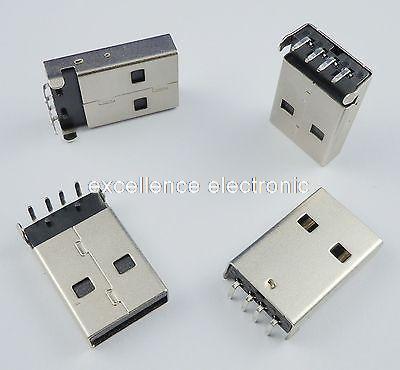 100Pcs USB 4 Pin Type-A Female  Right Angle DIP Connector DIY 100pcs right angle 4 pin usb type a standard port female plug jacks connector pcb socket usb a type
