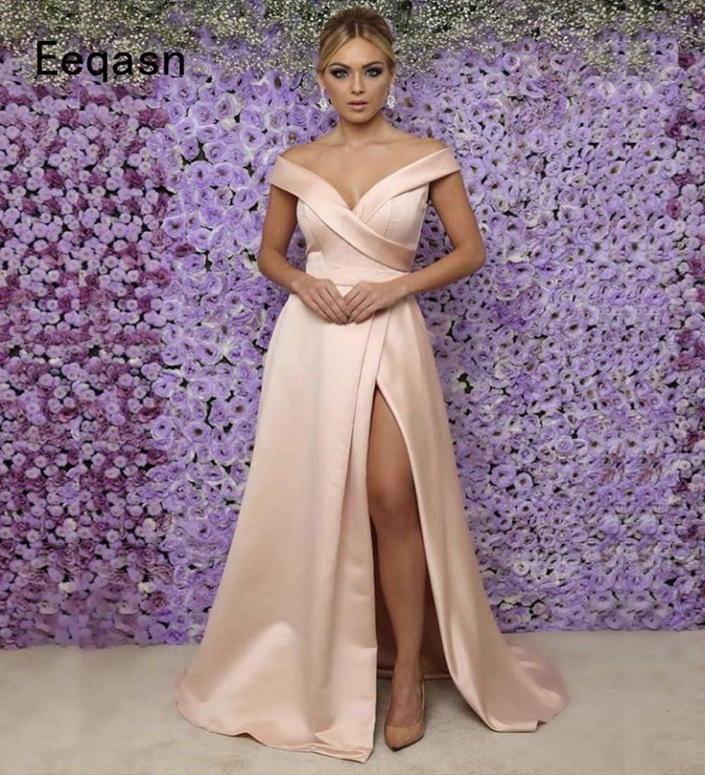 0df888b06da1a Elegant Evening Dresses Long 2018 Satin Off Shoulder V Neck Slit African  Formal Evening Gown Prom Dress Abendkleider Plus Size