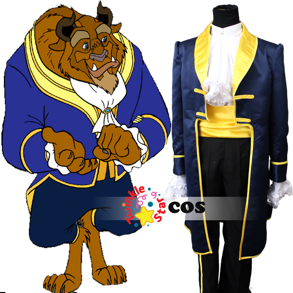 free shipping belle beauty and the beast costume cartoon prince beauty and the beast Halloween cosplay adult costumes for men