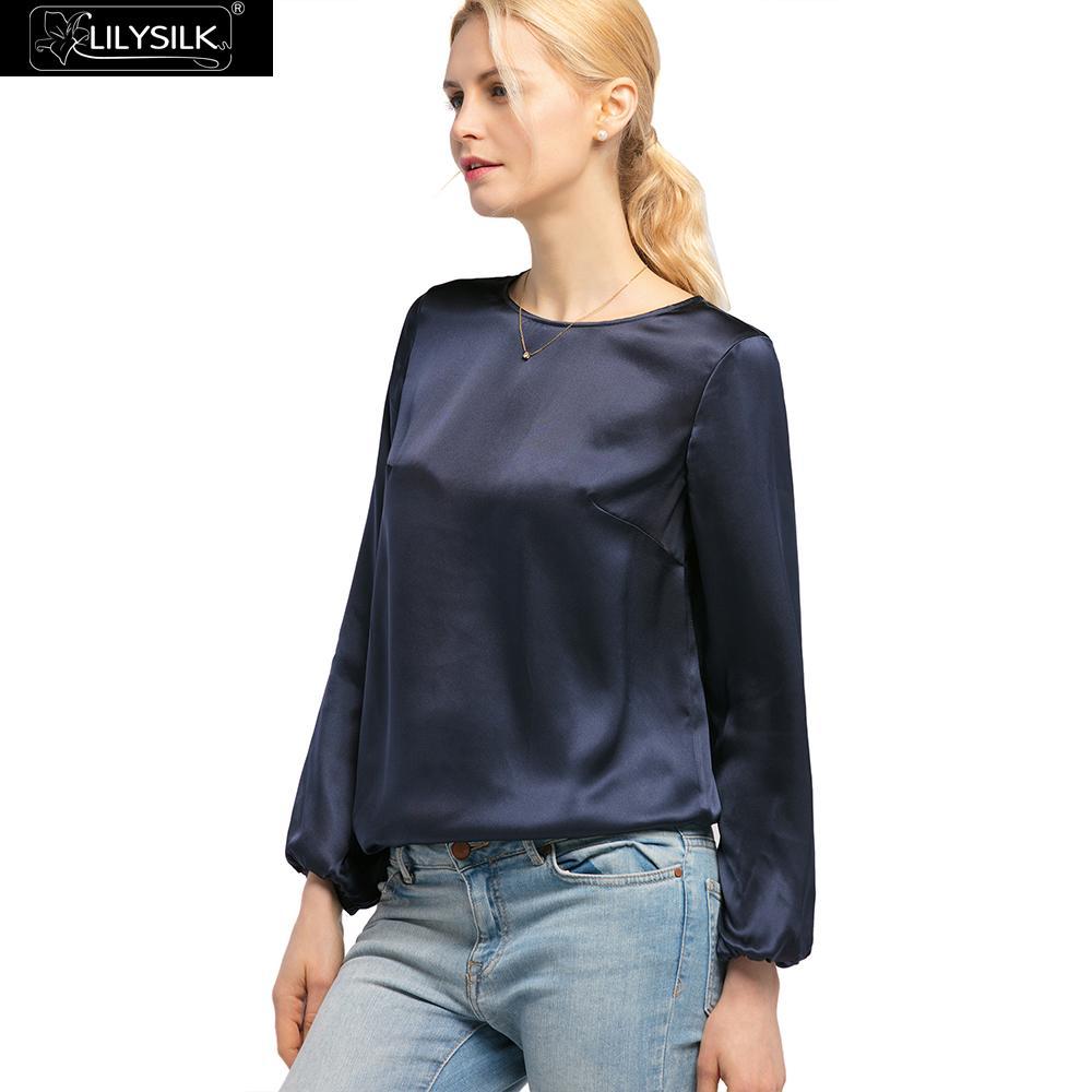 LilySilk bluzka koszula jedwabiu dla kobiet elegancki okrągły dekolt 22 momme letnie damskie darmowa wysyłka w Bluzki i koszule od Odzież damska na  Grupa 2