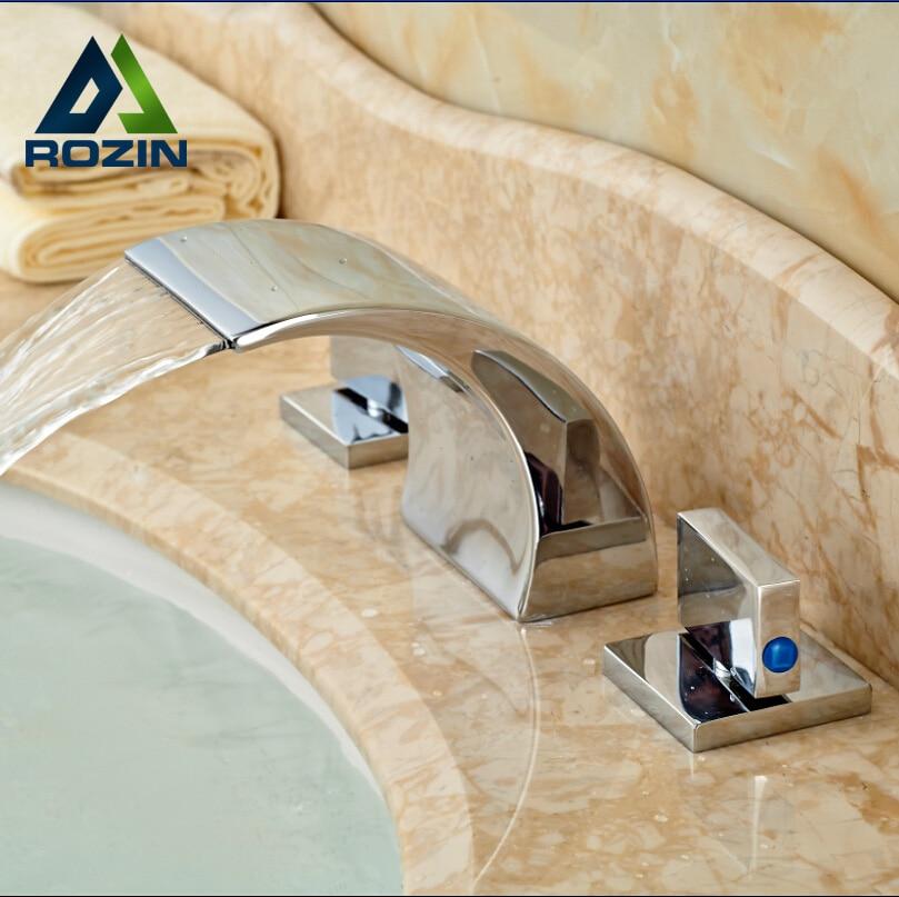 Chrome Brass Widespread Bathroom Basin Faucet Dual Handles 3pcs Waterfall Sink Mixer Tap contemporary 3 holes basin vessel sink faucet dual handles widespread mixer tap chrome brass