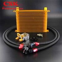 15 linha Adaptador Termostato Motor Confiança de Corrida Oil Cooler Kit Para Carro/Caminhão Azul/Preto/Ouro
