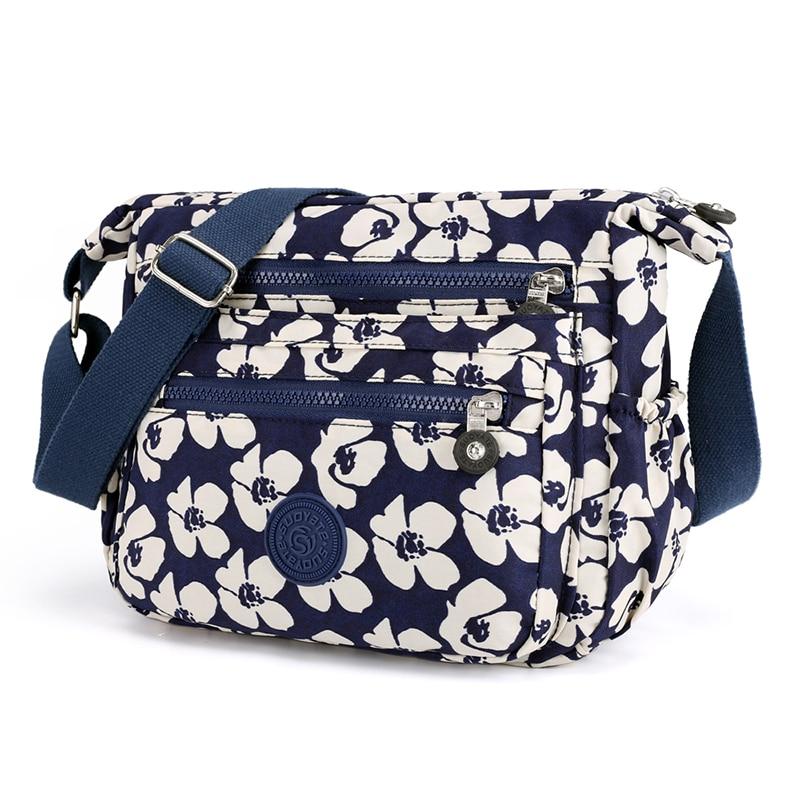 Handbag Light Crossbody-Bag Floral-Printing Nylon Multi-Pockets Waterproof High-Quality