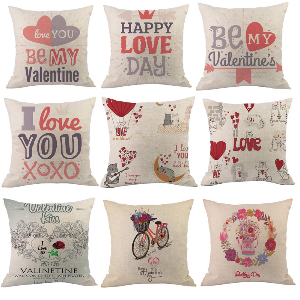 Lovely Letters Printed Pillow Case Valentine's Day Gift Home