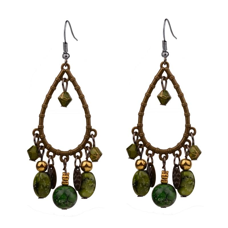 ER379 Retro Antique Bronze Bohemia Zaļā / sarkanā krāsa Beaded Vintage auskari sievietēm Lady New Jewelry Bijouterie