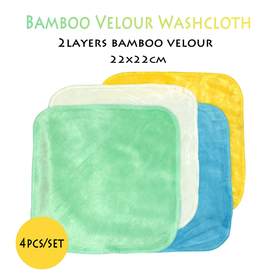 (4pcs/lot)ICLOTHUP 22*22cm Bamboo Velour Baby Wipe,reusable Wash Cloth, Super Soft For Sensitive