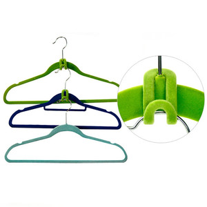 Image 5 - 10PCS/Lot Cloth Hanger Hook Mini Flocking Clothes Hanger Easy Hook Closet Organizer Holder Random Color
