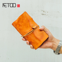 AETOO Handmade cowhide multi function wallet mobile phone bag document bag Hand grab bag notebook bag men's handbag