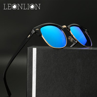 LeonLion 2017 Semi Rimless Designer HD Polarized Sunglasses Men UV400 Classic Oculos De Sol Gafas Metal