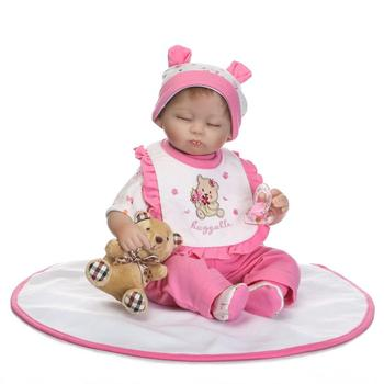 Nicery 16-18inch 40-45cm Bebe Doll Reborn Soft Silicone Boy Girl Toy Reborn Baby Doll Gift for Child Pink Clothes Gray Bear Doll