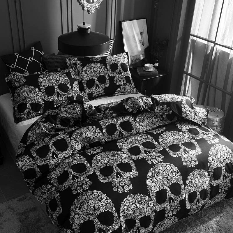 Постельные принадлежности, Комплект постельного белья с золотым черепом, покрывало с 3D принтом, черное постельное белье, 2 3 шт., модный домаш