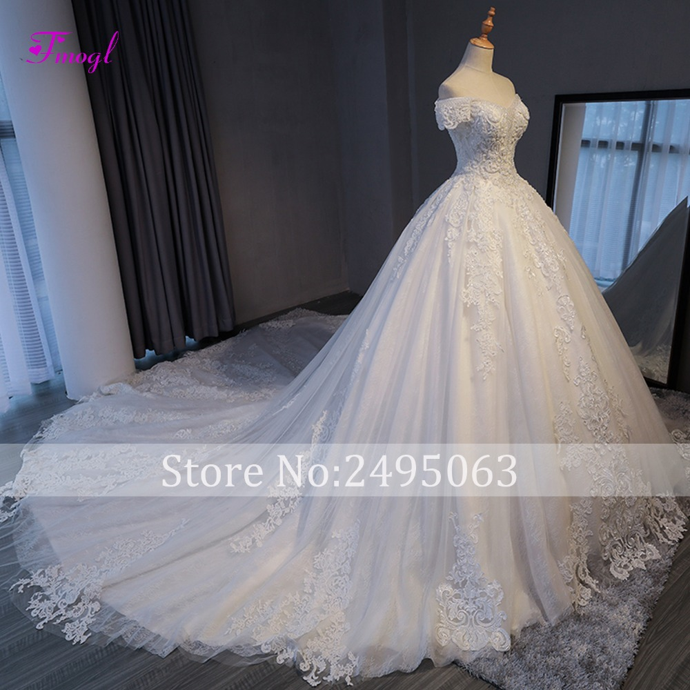 Image 3 - Fmogl Vestido de Noiva Appliques Chapel Train A Line Wedding Dresses 2019 Delicate Beaded Boat Neck Lace Up Princess Bridal Gown-in Wedding Dresses from Weddings & Events