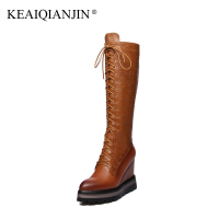 KEAIQIANJIN Woman Wedges Knee High Botas Pointed Toe Autumn Winter Genuine Leather Shoes Lace Up Black