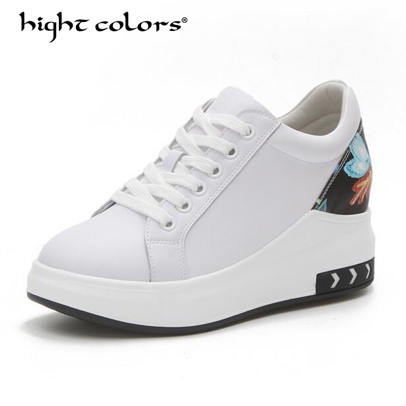 New 2018 High Heels Ladies Casual Pump Shoes Women Wedges platform shoes female chaussure femme swing slimming shoes white Tyt3 цена