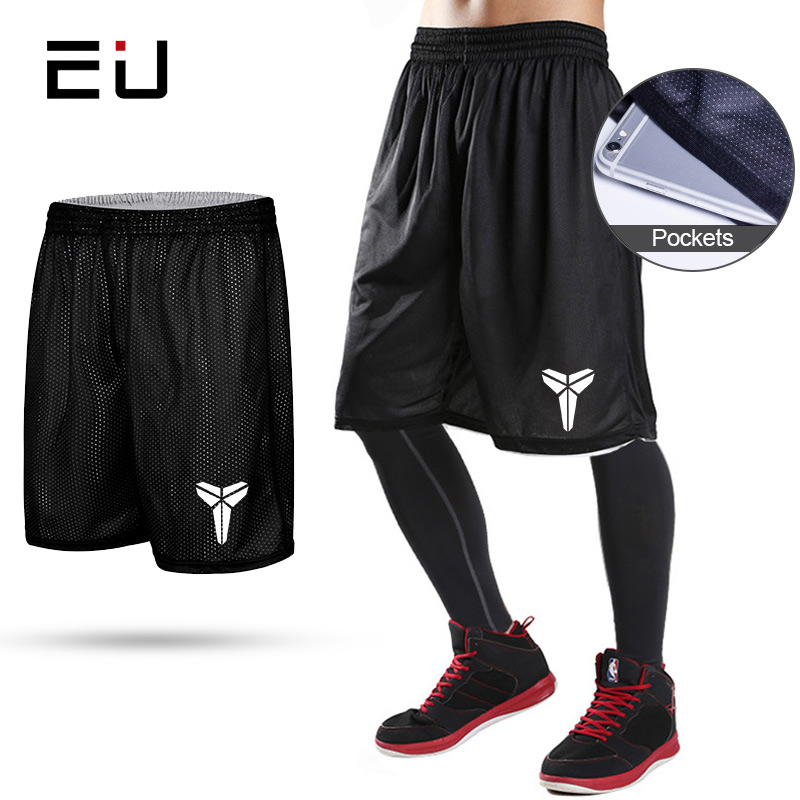 EU Reversible Basketball Shorts with Pockets Quick Dry Breathable Training Basketball Shorts Men Fitness Running Sport Shorts Chemisier