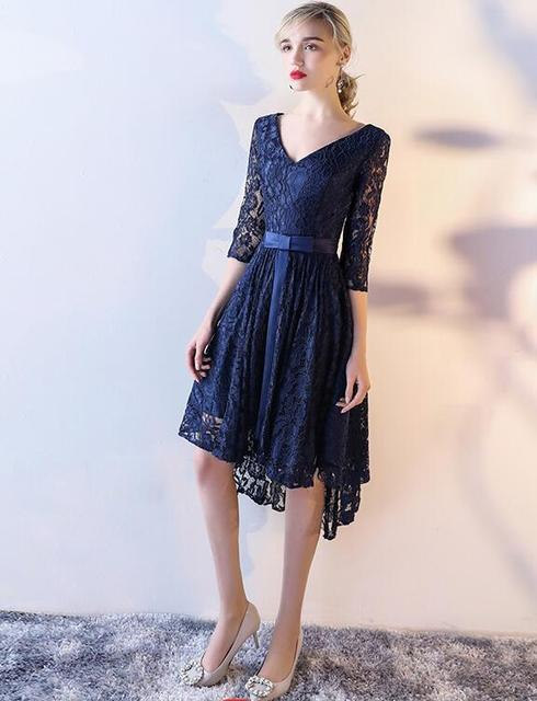 Navy Blue Lace High Low Short Modest Bridesmaid