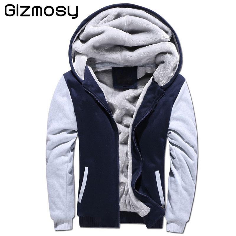 2018 Sweatshirts hommes fourrure à l'intérieur épais automne et hiver chaud veste à capuche Hodded décontracté grande taille épais sweat SY2150