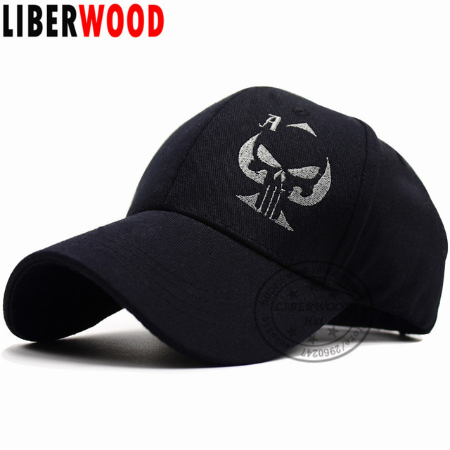 LIBERWOOD Old Playing Card Ace of Spades Cap Punisher Skull Sniper Hat  Embroidered Black Baseball Cap Hat Men Women Sports Cap 91d033228be