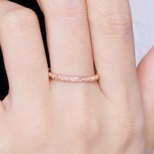 Rose Gold Color Twist Classical Cubic Zirconia Wedding Ring for Woman Girls 925 Sterling Silver Crystals Gift Rings