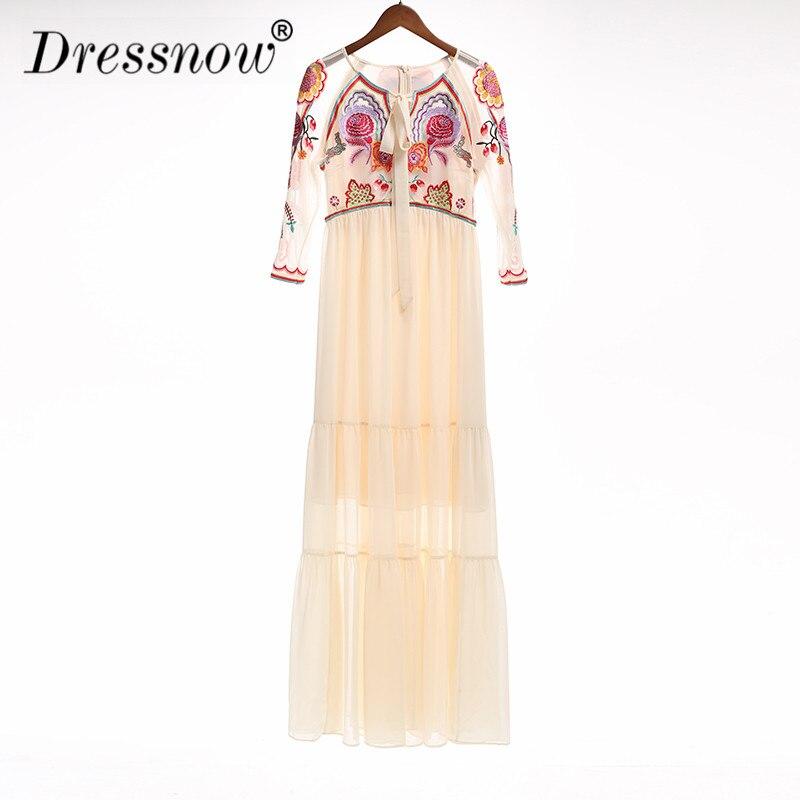 Европейские и американские новые модные женские летнее платье Винтаж органза вышивка гладью одежда длинные обжимной галстук платье