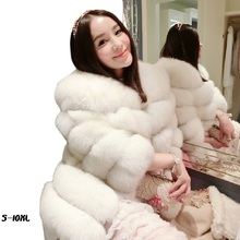 6XL-10XL new fur coats imported imitation fox fur fur coat coat 2017pele long 65CM An ostrich coat womens faux fur coat