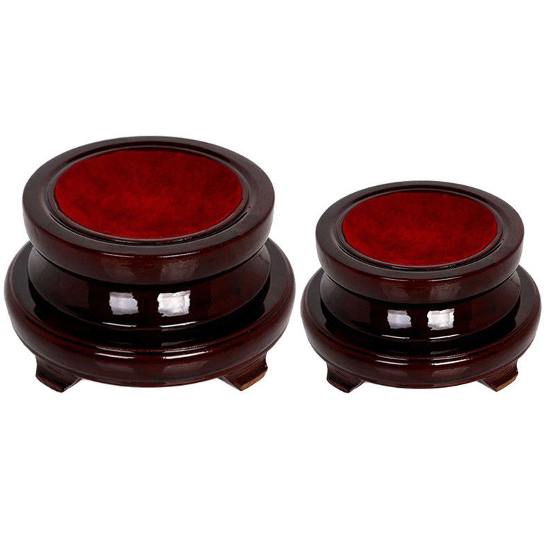 Vintage Base Wooden Stand Holder For Crystal Ball Sphere Globe Stone Table