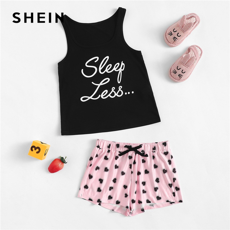 SHEIN Bow Letter Print Tank And Shorts Girls Sleepwear Kids Pajamas 2019 Sleeveless Casual Pajamas For Girls Pajama Set jungle print crop tank top and pleated shorts co ord