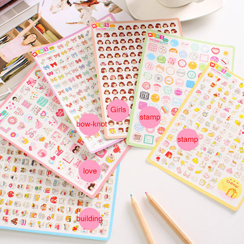 2sheet/Pack Korea Decorative MINI Diary Stickers Transparent Stickers Paper Sticker Kids Toys Gift 6 Different Styles