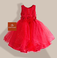Christmas Style Girl Dress 3 Flowers Wedding Kids Dresses For Girls Party Drss Pearl Sequined Sleeveless