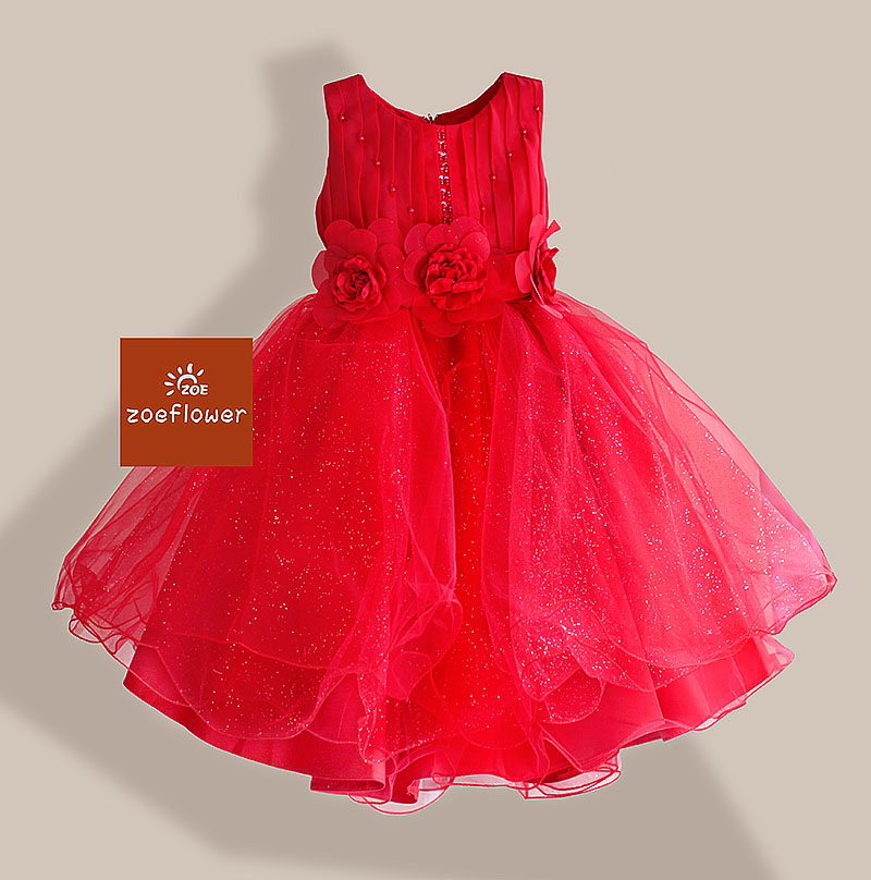 Christmas Style Girl Dress 3 Flowers Wedding kids Dresses for Girls Party Drsses Pearl Sequined Sleeveless Princess 3-8Y amazing style girl wedding dress short sleeve with flowers kids party dresses for girls baby infant 1lot 5pcs lh705