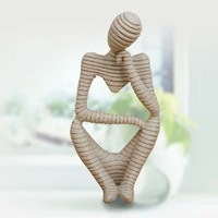 Nature sandstone Stripes Abstract thinker Figure Crafts Resin Technology Hand Carved Figurine European Style Home Decoration