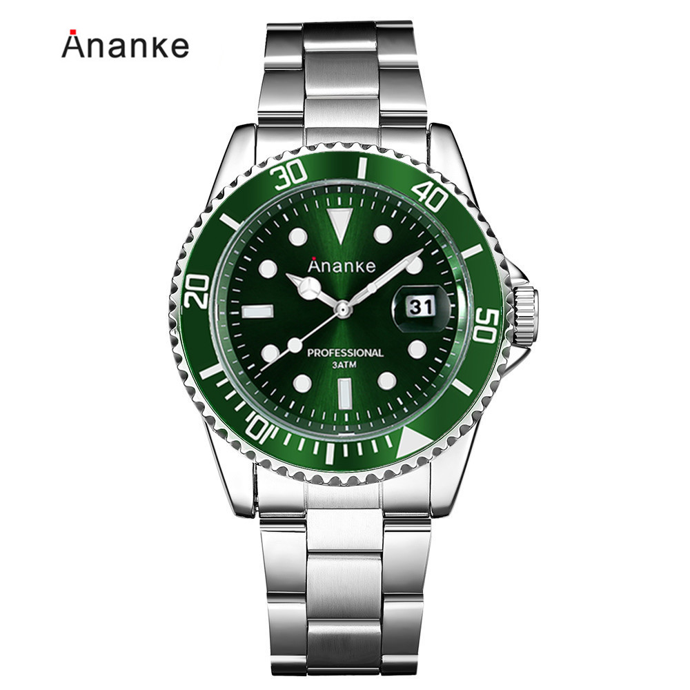 Ananke Auto Date Mens Stainless Steel watch Luminous Hands and Dial Sport Analog 3ATM Waterproof Japan Movement Men Wristwatch