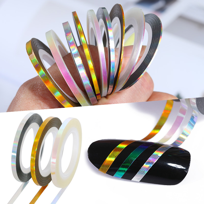 3 Rolls Holographic Nail Striping Tapes Laser Adhesive Line Decal DIY Nail Art Styling Tools 14 rolls glitter scrub nail art striping tape line sticker tips diy mixed colors self adhesive decal tools manicure 1mm 2mm 3mm