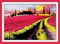 New Lavender Garden Scenic DMC Cross Stitch Kits 14ct White 11ct Printed Embroidery DIY Handmade Needle