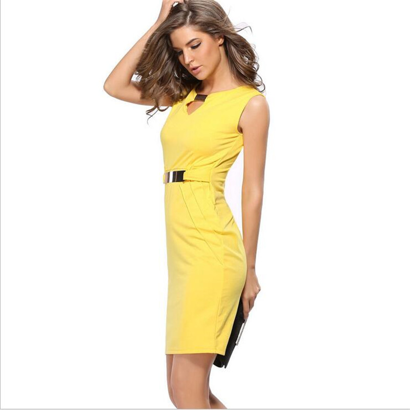 Owlprincess summer sleeveless v-neck solid vestidos knee-length elbise bodycon dress office work for women casual OL dresses