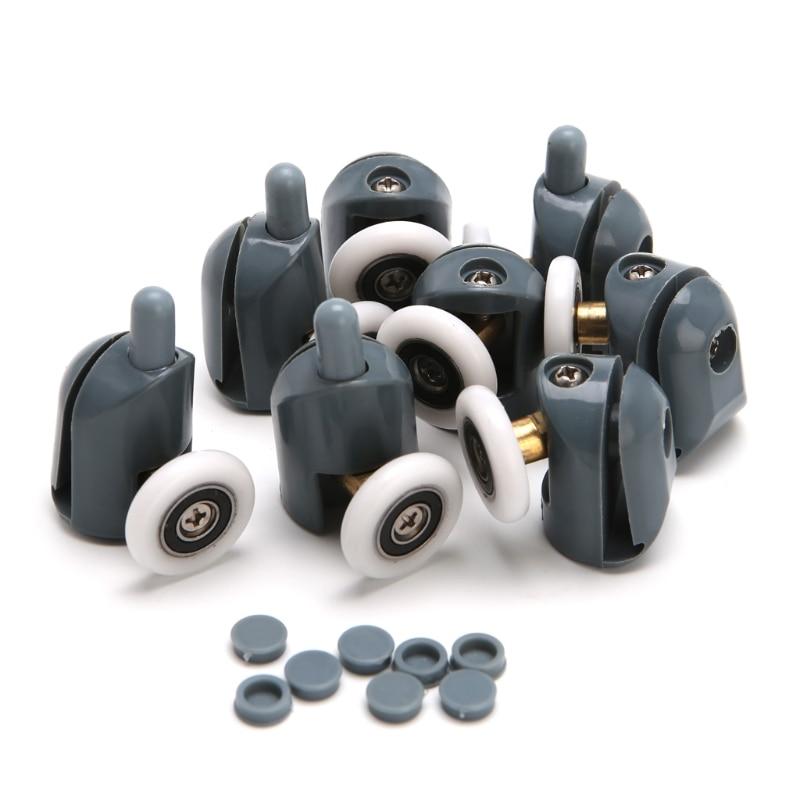 8Pcs/Set Shower Door Rollers Runners Wheels Pulleys 25mm x 5mm Screw Cover Cap #Aug.26 цена