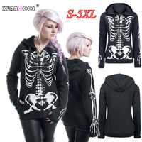 Mantel Frauen 2018 Herbst Winter Lange Hülse Grafik Skeleton Schädel Print Harajuku Mit Kapuze Sweatshirts Fleece Jacke Zipper Hoodies