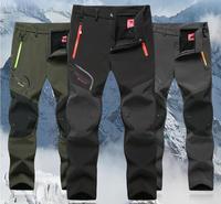 Man Winter Fishing Waterproof Camping Trekking Fleece Outdoor Hiking Pants Climbing skiing Softshell Trouser Travel 5XL