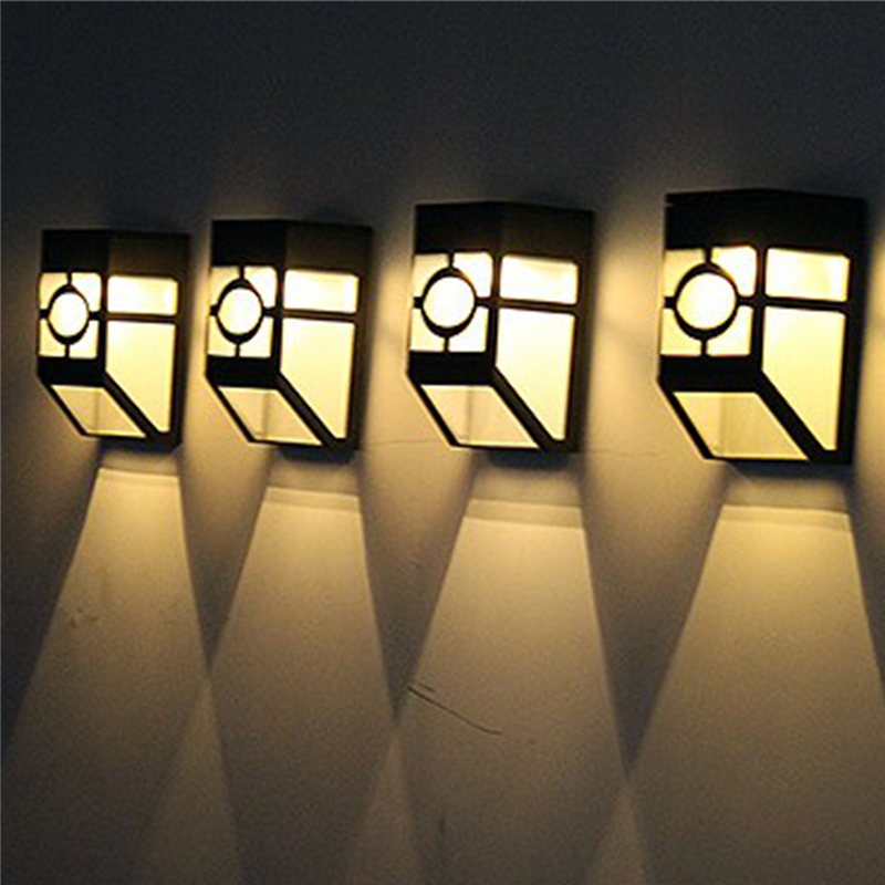 2 Bulbs Solar Wall Lamp 2leds Solar Powered Light Ip55 Waterproof Outdoor Garden Light Decoration Yard Path Fence Lamps Bulb