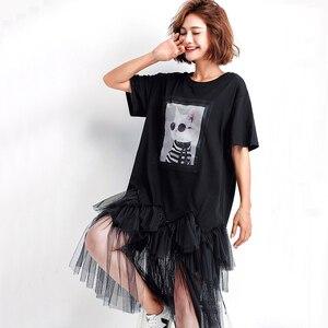Image 4 - Oladivi Plus Size Women Mesh Shirt Dress Fashion Print Summer Short Sleeve Casual Midi Dresses Female Loose Tunics Black 4XL 3XL